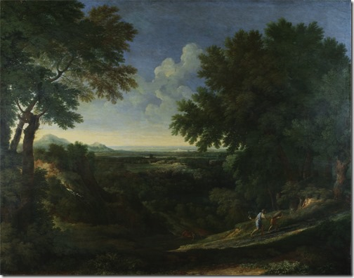 "Landscape with Abraham and Isaac (""Landscape with Abraham and Isaac approaching the Place of Sacrifice""), ca. 1665, Gaspard Dughet (Gaspard Poussin, French Baroque Era Painter, 1615-1675), Oil on canvas, 152.2 x 195.2 cm, National Gallery, London, UK."