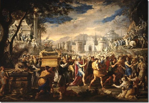 "David Bearing Ark of Testament into Jerusalem (""The transfer of the Ark of the Covenant by King David in Jerusalem""), late 1640s, Domenico Gargiulo (Domenico Gardzhulo, called Micco Spadaro, Italian Baroque Era Painter, ca.1612-1679), oil on canvas, 127 x 178 cm, The Pushkin Museum of Fine Arts, Moscow, Russia."