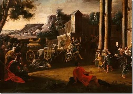 DETAIL: David playing the Harp Before the Ark (Davide Suona la Cetra Davanti all'Arca), first half of the XVIII century, workshop of Nicola Viso (or Nicolò Viso, Italian Painter, act. 1724-1742), oil on canvas, 74.5 x 100 cm, Fondazione Cariplo, Milan, Italy