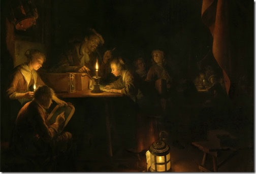 DETAIL: The Night School (De avondschool), ca. 1660-1665, Gerrit Dou (Dutch Baroque Era Painter, 1613-1675), oil on panel, 53 x 40.3 cm (20.9 x 15.9 in.), Rijksmuseum, Amsterdam, The Netherlands.
