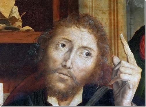 DETAIL: The Parable of the Unfaithful Steward (Parable of the Unjust Steward / Gleichnis vom ungerechten Verwalter / Die Parabel vom untreuen Verwalter), ca. 1540, Marinus van Reymerswaele