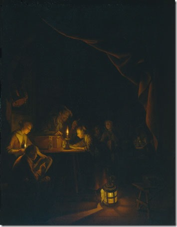 The Night School (De avondschool), ca. 1660-1665, Gerrit Dou (Dutch Baroque Era Painter, 1613-1675), oil on panel, 53 x 40.3 cm (20.9 x 15.9 in.), Rijksmuseum, Amsterdam, The Netherlands.