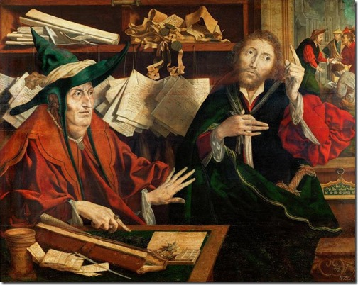 The Parable of the Unfaithful Steward (Parable of the Unjust Steward / Gleichnis vom ungerechten Verwalter / Die Parabel vom untreuen Verwalter), ca. 1540, Marinus van Reymerswaele (Marinus Claesz van Reymerswaele, Flemish Northern Renaissance Painter, ca.1490-1567), Oil on oakwood, 77 x 96.5 cm, Kunsthistorisches Museum, Vienna, Austria