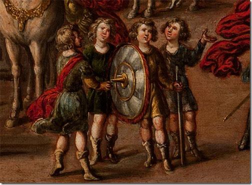 DETAIL: Abigail presents Gifts to David (Abigail entrega presentes a David), 1630-60, circle of Juan de la Corte (Flemish-born Spanish Baroque Era Painter, c. 1585-1662), oil on canvas, 66 x 110 cm (25,98 x 43.31 in), Fundación Banco Santander, Madrid, Spain.