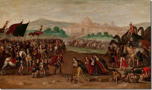 Abigail presents Gifts to David (Abigail entrega presentes a David), 1630-60, circle of Juan de la Corte (Flemish-born Spanish Baroque Era Painter, c. 1585-1662), oil on canvas, 66 x 110 cm (25,98 x 43.31 in), Fundación Banco Santander, Madrid, Spain.