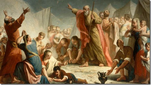 DETAIL: The gathering of the manna in the desert (The Manna Harvest / Rain of Manna / Caduta della manna  / Piovere della manna nel deserto), c. 1768, Giuseppe Angeli