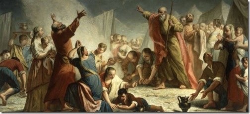 The gathering of the manna in the desert (The Manna Harvest / Rain of Manna / Caduta della manna  / Piovere della manna nel deserto), c. 1768, Giuseppe Angeli