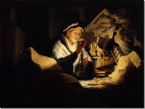 "Parable of the Rich Man or ""The Money Changer"" (Das Gleichnis vom reichen Kornbauern / Der reiche Narr / Der Geldwechsler), 1627,Rembrandt van Rijn (Dutch Baroque Era Painter and Engraver, 1606-1669),  oil on oak  panel, 32 × 42.5 cm (12.6 × 16.7 in.), Staatliche Museen, Gemäldegalerie, Berlin, Germany"