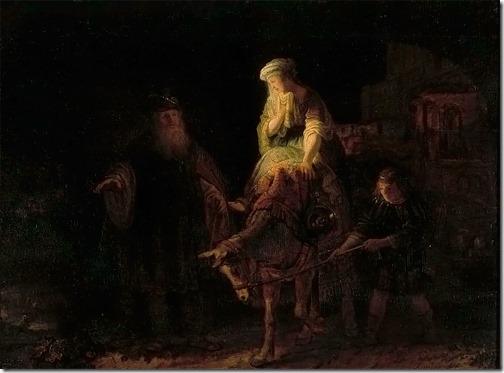 Abraham dismissing Hagar and Ishmael, 1640, Rembrandt van Rijn