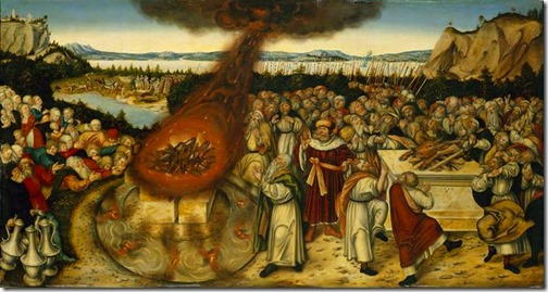 Elijah and the Priests of Baal (Elias und die Baalspriester), 1545, Lucas Cranach the Younger