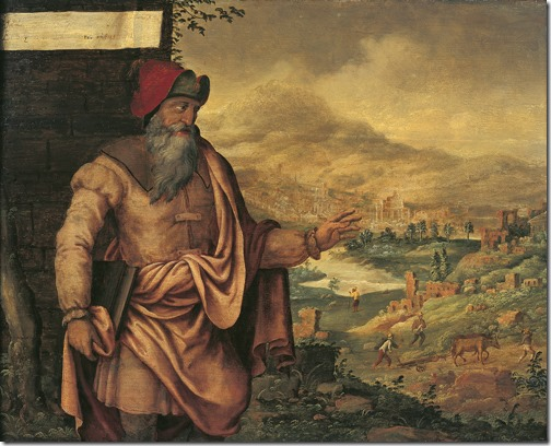 Prophet Isaiah predicts the return of the Jews from exile (De profeet Jesaja voorspelt de terugkeer van de Joden uit de ballingschap), 1560-1565, Maarten van Heemskerck