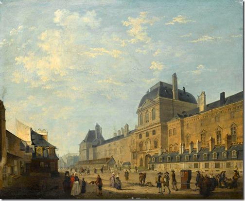 The Louvre façade seen from Rue Fromenteau (Vue de la façade ouest du Louvre), late 18th century, Philibert-Louis Debucourt