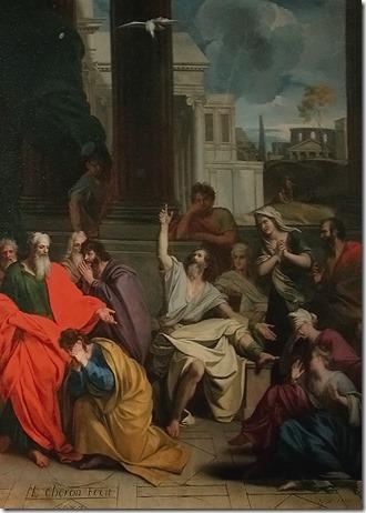 """""""Distress over St. Agabus Foretelling St. Paul's Imprisonment In Jerusalem"""" (La Prédication du Prophète Agabus à Saint Paul / Le prophète Agabus prédisant à saint Paul ses souffrances à Jérusalem), 1687, Louis Chéron"""