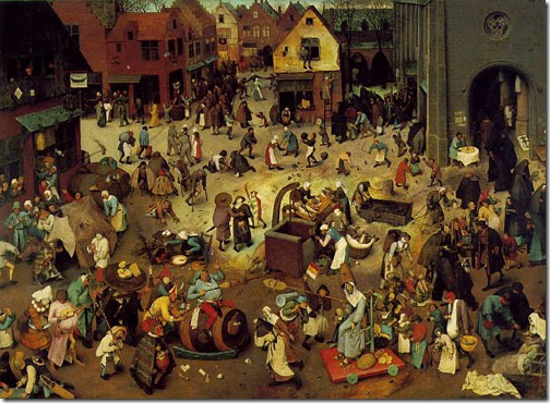 The Battle of Carnival and Lent (Kampf zwischen Fasching und Fasten), 1559, Pieter Bruegel the Elder