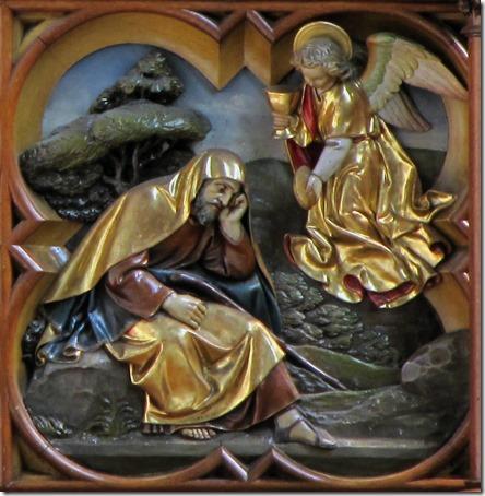"""Elijah fed by an angel (Le Prophète Elie Nourri par un Ange), altarpiece (autel-retable) of Jean Weyh de Colmar (carpenter, sculptor), detail, ca. 1897 -1899, Église Notre-Dame de l'Assomption (""""Église Saint-Arbogast""""), Rouffach, Haut-Rhin, Alsace, France"""
