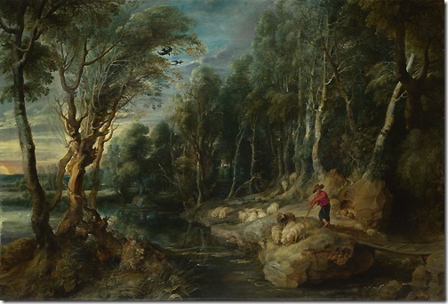 A Shepherd with his Flock in a Woody Landscape, ca. 1615-22, Peter Paul Rubens