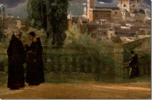 DETAIL: Florence; The Boboli Gardens (Florence; Vue prise des jardins Boboli / Firenze; Giardino di Bòboli), ca. 1835-1840, Jean-Baptiste-Camille Corot