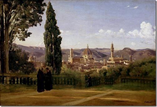 Florence; The Boboli Gardens (Florence; Vue prise des jardins Boboli / Firenze; Giardino di Bòboli), ca. 1835-1840, Jean-Baptiste-Camille Corot