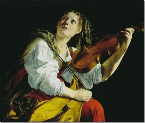 Young Woman Playing a Violin, ca. 1612, Orazio Gentileschi