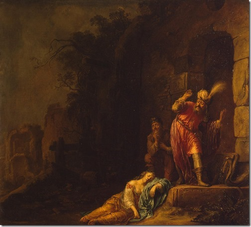 """Death of the Levite's Concubine (also known as """"Death of Levi's Wife""""), 1638, Willem Bartsius"""