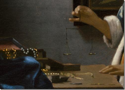DETAIL: Woman Holding a Balance (Vrouw met weegschaal), c. 1664, Johannes Vermee