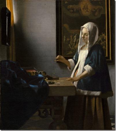 Woman Holding a Balance (Vrouw met weegschaal), c. 1664, Johannes Vermeer