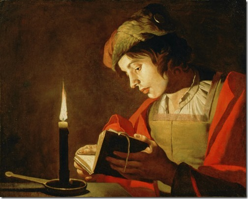Young man reading by candlelight, 1628-32, Matthias Stomer