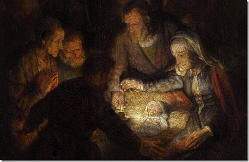 DETAIL: Nativity Scene of Peace (Adoration of the Shepherds / Die Anbetung der Hirten), 1646, Rembrandt van Rijn