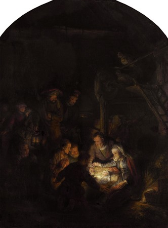 Nativity Scene of Peace (Adoration of the Shepherds / Die Anbetung der Hirten), 1646, Rembrandt van Rijn