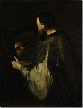 Philosopher with a Mirror, 1600-1652, Jusepe de Ribera