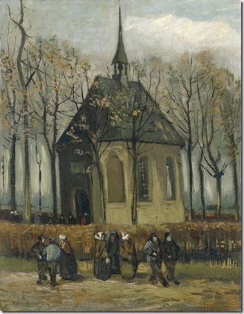 Congregation Leaving the Reformed Church in Nuenen, 1884-1885, Vincent van Gogh