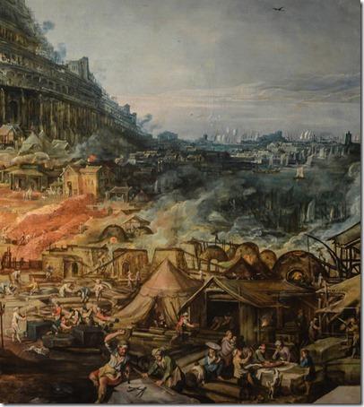 DETAIL: Tower of Babel (La tour de Babel), Joos de Momper II; Frans Francken II
