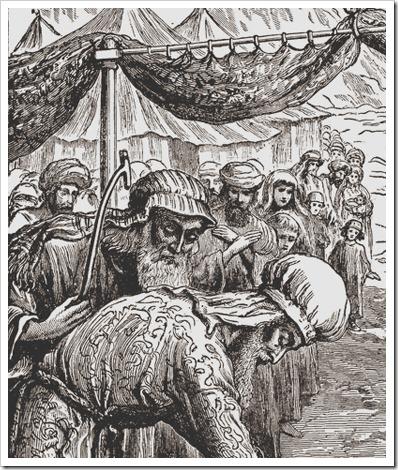 DETAIL: Sending Out the Scapegoat (L'envoi du bouc émissaire / Uitzending van de zondebok / Invio del capro espiatorio), William James Webbe (Also known as William James Webb, British Painter, Engraver and illustrator, 1830-1904)