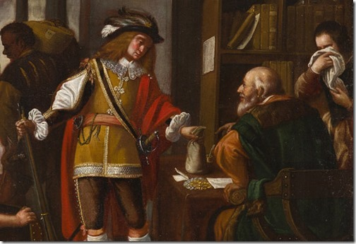 DETAIL: The Prodigal Son Receives His Rightful Inheritance (El hijo pródigo recoge su legitima), Valencia, 17th century, Circle of Miguel March