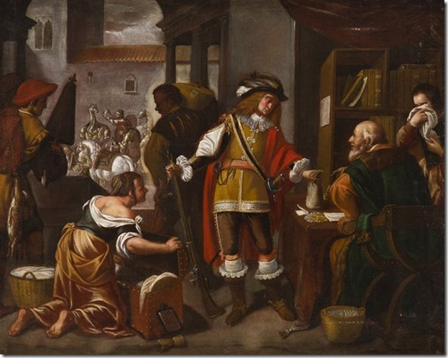 The Prodigal Son Receives His Rightful Inheritance (El hijo pródigo recoge su legitima), Valencia, 17th century, Circle of Miguel March