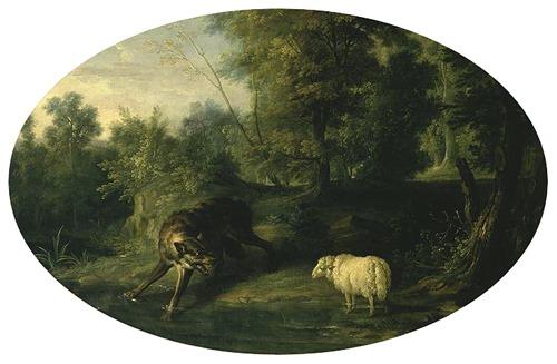 DETAIL: The Wolf and the Lamb (Le loup et l'agneau), 1747, Jean-Baptiste Oudry