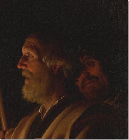 """DETAIL: """"The Denial of St. Peter"""" (Le Reniement de saint Pierre), ca. 1623, Gerrit Van Honthorst"""