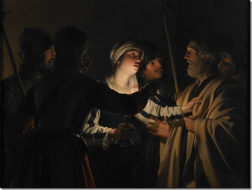 """The Denial of St. Peter"" (Le Reniement de saint Pierre), ca. 1623, Gerrit Van Honthorst"