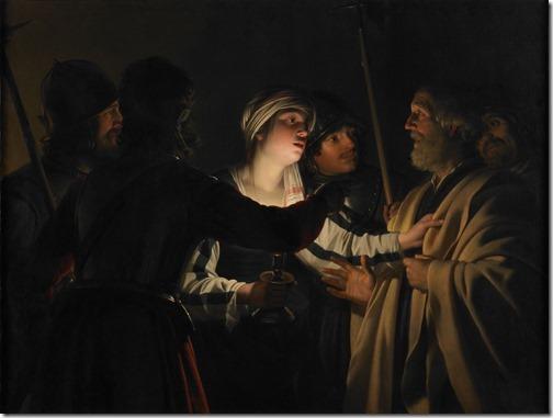 """The Denial of St. Peter"" (Le Reniement de saint Pierre), ca. 1623, Gerrit Van Honthorst"