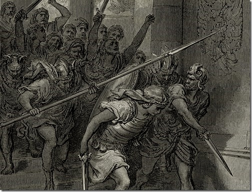 "DETAIL: Death of Athaliah (""The execution of Queen Athaliah""), 1870, Alexandre Hurel, Wood Engraving after the painting of Gustave Doré"