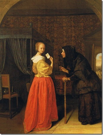 Bathsheba receiving David's Letter (Batseba ontvangt de brief van koning David), ca. 1656-1660, Jan Steen