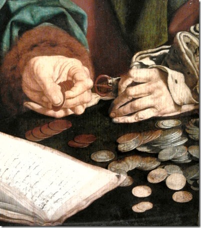 DETAIL: Two tax collectors, 1540s, Marinus van Reymerswaele