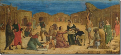 The Israelites Gathering Manna, probably 1490s, Ercole de' Roberti