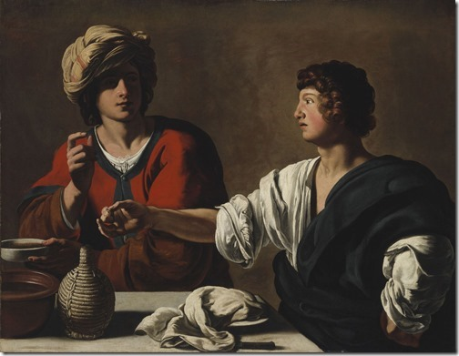 Jacob and Esau (Jakob und Esau / Jacob et Esaü / Ézsau eladja elsőszülöttségi jogát / Esau Selling His Birthright / Jacob échange le droit d'aînesse d'Esaü contre un plat de lentilles), ca. 1625, Italian follower of Caravaggio