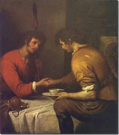 Esau and Jacob (Esau Selling His Birth Right / Esaù e Giacobbe / Esaù vende la primogenitura a Giacobbe / La vendita della primogenitura), no date, Giovanni Andrea de Ferrari
