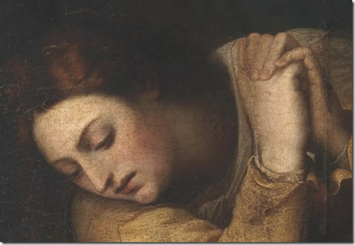 "DETAIL: Mary Magdalene at the Tomb of Christ (""The Empty Tomb"" / Magdalena ante el sepulcro de Cristo), XVII Century, Sebastiano del Piombo"