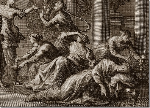 "DETAIL: Parable of the Wise and Foolish Virgins, 1700, Johannes Luyken (Also known as Jan Luyken, Dutch Poet, Illustrator and Engraver, 1649–1712), etching, 14.9 x 21.25 cm, Illustration to Mathew 25:1-13 in ""Bible de Mortier"""
