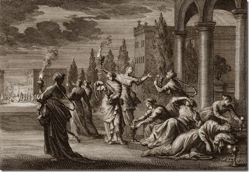 "Parable of the Wise and Foolish Virgins, 1700, Johannes Luyken (Also known as Jan Luyken, Dutch Poet, Illustrator and Engraver, 1649–1712), etching, 14.9 x 21.25 cm, Illustration to Mathew 25:1-13 in ""Bible de Mortier"""