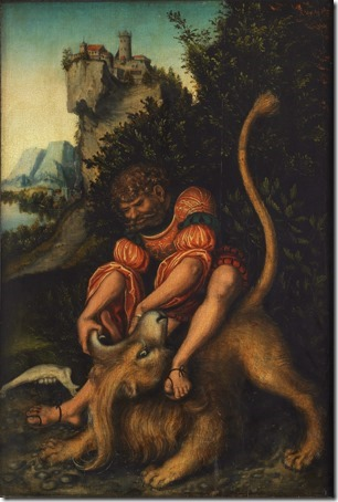 Samson and the Lion (Samson's fight with the Lion / Samson battling with the lion / Samson Vanquishing the Lion / Simson bezwingt den Löwen), ca. 1520-25, Lucas Cranach the Elder