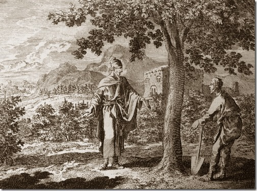 "The Parable of the Fig Tree, Johannes Luyken (Also known as Jan Luyken, Dutch Poet, Illustrator and Engraver, 1649–1712), etching, Illustration to Luke 13:6-9 in ""Bowyer's Bible"", Bolton Museum, Greater Manchester, England, UK"